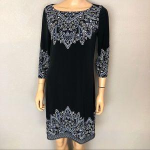 White House Black Market Paisley Shift Dress Black